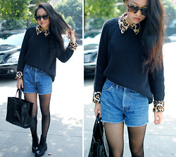 Meijia S - Navy Sweater, Diy Denim Shorts, Michael Kors Leopard Shirt - Yesterday's jazz music look