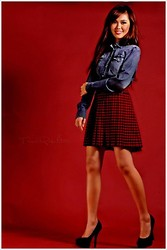 Linsey Y. - 7 For All Mankind Denim Polo, Promod Plaid Skirt, Atmosphere Black Pumps - Modern School Girl