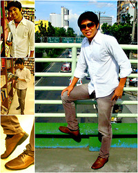Kim De Ramos - I2i Aviator Shades, Wgw Brownie, Folded And Hung Faded Pants, John Briann White Shirt - Sunday Book Sale
