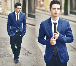 James Vyn - H&M Tie, H&M Shirt, Zara Pants, Zara Loafers, Zara Blazer - Black and Blue for You
