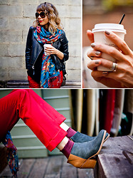 Jennine Jacob - Prada Baroque Jackie O's, Alice + Olivia Red Trousers, Rachel Comey Fall Booties, H&M Burgundy Ankle Socks, Sally Hansen Fishnet Nails, H&M Floral Scarf, Topshop Moto Jacket - Shades of Red