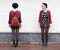 Sophie H - Fleamarket 2hand Leather Bag, Monki Black Dotted Polka Dress, H&M Red Knitted Cardigan, H&M Black Tights, Dr. Martens High Black Docs - You'd better watch out cause I like you