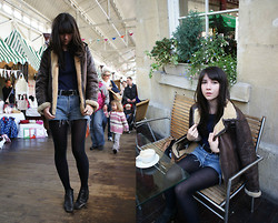 Becky May - Vintage Aviator Jacket, Topshop Jumper, Levi's® Shorts, Vintage Boots - Flying jacket