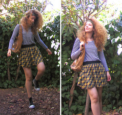 Ori Schneider - Quiksilver Striped T Shirt, Shesh Checkered Skirt, Skopunkten Sneakers - A few leaves fell to the ground