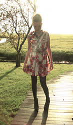 Jeanne H. - Floral Dress, Wedges - Flowers follow the sun, even on cloudy days