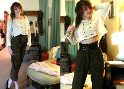 Abby Yoyo - Vintage High Waist Pattern Pants, Ae Diy Crop Top - Sissors Running