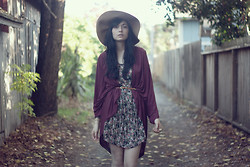 Danielle Payton - Secondhand Floral Dress, American Apparel Viscose Shawl Cardigan, H&M Wide Brimmed Hat, Secondhand Gold Tipped Belt - Felts, Florals and Fall Leaves