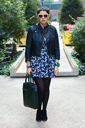 Gabriela Monsanto - Target Jacket, Madewell Dress, House Of Harlow Sunglasses, Zara Bag, Sam Edelman Boots - Cool Toned Florals