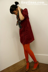 Chris L. - H&M Shirt Dress, Bcbg Scarf, French Connection Uk Tights, Nine West Heels - Autumn-matic