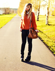 Amanda Brohman - Romwe Orange Sweater, Skinny Jeans, Modekungen Platforms, Wera Leather Bag - Sparkling Autumn
