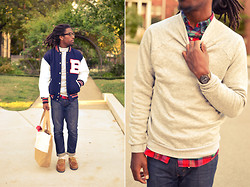 Zachary Gray - Letter Jacket, Skinny Vinny Tote, Thrifted Flannel, Thrifted Sweater, Levi's® 2yr Old Levi's - Ivy League