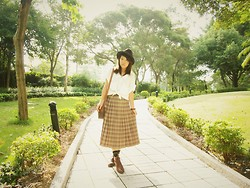 Tamiko Chan - Céline Vintage Handbag, Vintage Checker Skirt, Vintage Lace Up Boots - Coward