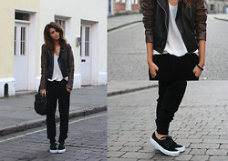 India Rose - Topshop Leather Jacket, River Island Silk Pocket Tank, All Saints Bag, Alexander Wang Knitted Joggers, Vans Suede Sneakers - PERFECT EXCUSES