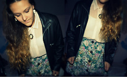 Lucinda Poulsen - Soon Leather Jacket, River Island Floral Skirt, Charity Shop Necklace/Brooch, H&M Shirt - Floral Cow