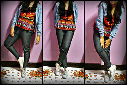Grace O. - Forever 21 Ethnic Print Top, Marc Ecko White Hi Top Sneakers, Forever 21 Skinny Jeans, Cotton On Denim Jacket - Orange Crush