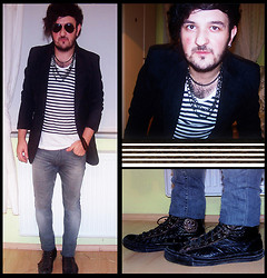 "CoffeeSniffer - Topman Earring, Converse My Fav. Old John Varvatos Special Design Chucks, Zara Strech Jeans, Zara Suede Blazer, H&M Striped Tee, Ray Ban Aviators, Topman Chains Bracelet, Topman Chains Necklace - Remember What The Dormouse Said; ""Keep YOUR HEAD!!!"""