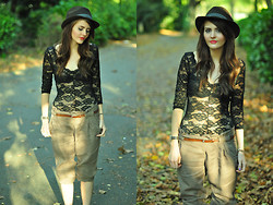 Jennifer Kiln - Topman Hat, American Apparel Black Lace Body, Paperbag Trousers - Fallen Leaves