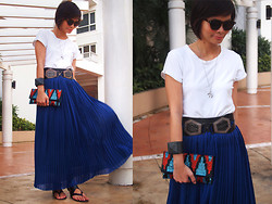 Lana Tiotuyco - Charles And Keith Sandals, Zara Shirt, H&M Crow's Foot Necklace, Mango Belt, Vida Jewelries Stingray Cuff, Forever 21 Tribal Print Beaded Clutch, Primadonna Blue Pleated Maxi Skirt - Cobalt