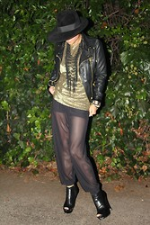 Michelle W - Vintage Hat, American Apparel Shorts, American Apparel Sheer Pants, Vintage Gold Top - Black/Gold/Black