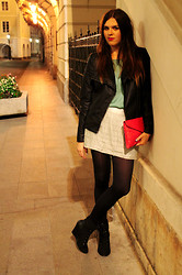 Barbora Drasnarova - Forever 21 Jacket, Topshop Top, Boohoo Clutch, Forever 21 Skirt, Asos Shoes - BVLGARI