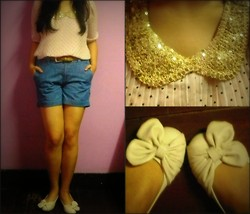 Grace O. - Cathryn & Charlz Bow Flats, Singapore Sequined Collar Sheer Top, Dorothy Perkins Brown Belt, Forever 21 Denim Shorts - Sparkle Me
