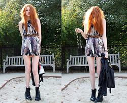 Olivia Emily - Feather Print Dress, Religion Studded Biker, Dr. Martens Dms - Sandpit