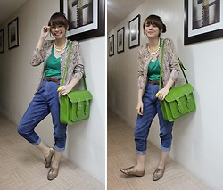 Bea Benedicto - Cole Vintage Gold Snakeskin Oxfords, Cole Vintage Green Satchel, Thrifted Gold Snakeskin Sweater, Deep In The Depths Of Mom's Closet Old Denim Trousers, Brother Leopard Glasses, Divisoria Sunshine Necklace - Sunshine Snake