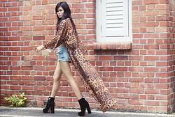 Melody Tan - Unif Leopard Dream Dress, Dolce Vita Jemma Boots, Topshop Denim Shorts - Wild thing