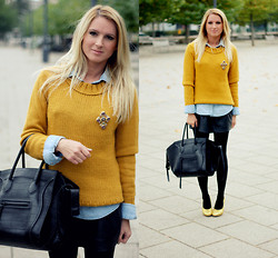 EMILIE HIGLE - Zara Sweater, Zara Denim Shirt, Chanel Brooch, Leather Skirt, Céline Bag, Miu Glitter Pumps - MUSTARD