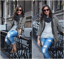 Alyssa C. - Astor Place Street Vendor Sunglasses, Charlotte Russe Loop Scarf, Banana Republic Sweater Vest, Forever 21 Army Inspired Outerwear, Heritage 1981 Jeans, Steve Madden Leopard Flats - Army + Sparkle