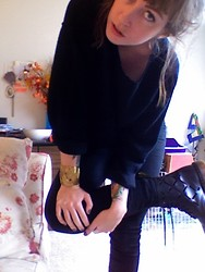 Jess R. - Sweater Thrifted. Diycut, Docs, Cheap Monday, Gold Cuff, London - Cutting up sweaters, gloomy day