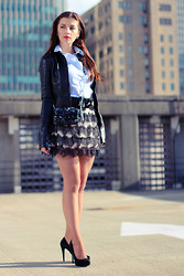 Evelina Barry - Rue21 Skirt, Ny & Co Belt, H&M Shirt, Jacket, Juicy Couture Purse, Michael Kors Pumps - Sequins, Leather & Lace