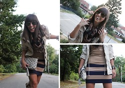 Aleksandra S. - No Name Scarf, P....S...Fashion Two Finger Ring, H&M Parka, No Name Bag, Zara Boots, H&M Skirt, H&M Shirt, Fossile Brown Watch - Creamy...