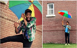 Bray J - Dekind Gangsta Hat, Bluenotes Plaid Shirt, Urban Outfitter Book It, Levi's® 514 - You Can Stand Under My Umbrella!