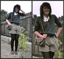 Renee Schmee - Forever 21 Houndstooth Shorts, Catworld Satchel, Mom's Old Closet! White Blouse, Forever 21 Warmest, Awesomest Tights Ever, Steve Madden Oxfords, Goji Berry Plant, Forever 21 Teapot Ring, H&M Dark Green Sweater - Leave The Asparagus Tops On Please