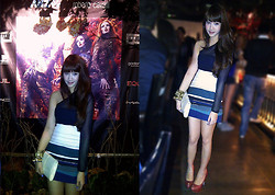 Michelle Djajawisastra - Zara Abstract Lines Skirt, Sheer Top, Marc By Jacobs Clutch - Roberto Cavalli Night - Goddess Warrior