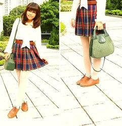 Tamiko Chan - Vintage Checker Skirt, Thailand Vintage Shoulder Handbag, Asos Oxford Shoes, H&M White Chiffon Blouse - My beginning