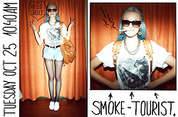 Bonnie Strange - The Orphans Arms Tshirt, Mcm Backpack, Levi's® Shorts - THE SMOKE-TOURIST