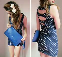 Alissa L - Ebay Bow Back Bodycon Dress, Ebay Envelope Clutch, Family Dollar Bow - I think i love her