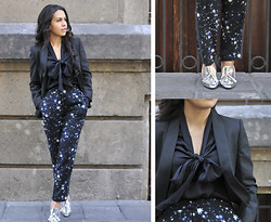 Gina Ortega - Alexander Wang Metallic Pumps, Rachel Zoe Black Blouse, Mango Blazer - Fly me to the moon