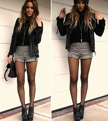 Nicola Kirkbride - H&M Shorts, Vintage Jacket, H&M Jumper, Topshop Shoes - Tweed Shorts