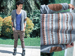 David Guison - Forever 21 Elbow Patch Tribal Print Cardigan, Bench Body Tank Top - Tribe Rider