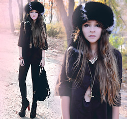 Paula Suchowera - Jeffrey Campbell Lita Boots, Flea Market Fur Hat, Hippy Market Gold Collar And Cross Necklace, Sin Show A Little Skin Blouse, The Worker Bracelet, Thrifted Velvet Backpack, Sin Leatherette Leggings - RUSSIAN GIRL  /  Dorion – 'Somewhere'