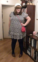 Sonia G. - Asos Floral Dress, Love Purple Tights, Thrifted Men's Loafers, Payless Knitted Hat, Thrifted Red Purse - Mod Night