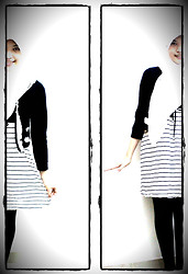 Nee-chan Annisa Yuwanda - White Hijab, Black Cardigan, Bw Stripe Dress, Black Thights - Black and white is nice