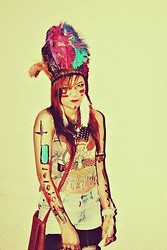 Jennica Castro - Diy Indian Headdress, Diy Feather Earings, Topshop Top, Diy Shorts, Diy Legwear, Diy Feather Bracelet - Spookyspookyspooky