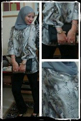 Sem G. - Zara Animal Print Tunic Top, Dior Homme Clutch Bag, Mango Trousers, Jamilah Hijab Studded - I Smell Something Snakey
