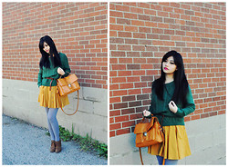 Michelle Wang - Zara Belt, Forever 21 Mustard Skirt, Vintage Emerald Fisherman Knitwear, Vintage Bag - Emerald Vintage