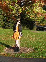 Joanna L - Material Girl Faux Leather Jacket, H&M Pumpkin Dress, Vintage Purse - Love this pumpkin weather