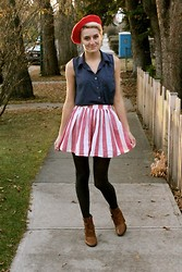 Emma M - American Apparel Red Stripe Skirt, Forever 21 Navy Sleevless Button Up, American Apparel Red Beret - Gloomy Sunday